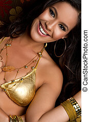 Smiling Bikini Woman - Beautiful smiling gold bikini woman