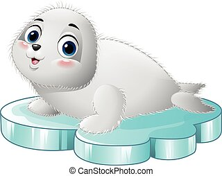 Cartoon baby seal on the floe - Vector illustration of...