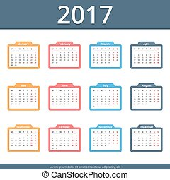 2017 Calendar, week starts on Monday, vector eps10...