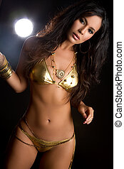 Swimsuit Woman - Sexy woman wearing gold bikini swimsuit
