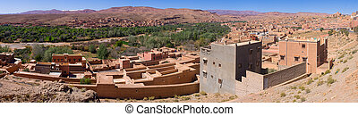 Tinghir city in Morocco - Panorama of Tinghir city in...