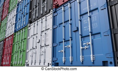 Stacks of colorful cargo containers. 4K seamless loopable...