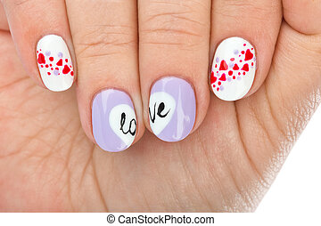 Finger nail with love pattern