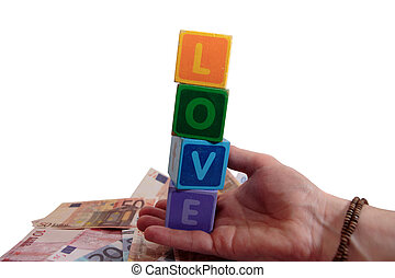 outstretched hands of love and money - childrens toy letters...