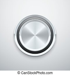 Realistic metal chrome silver steel round vector knob button