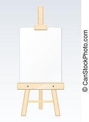 Easel, painting desk, drawing board with blank white canvas vector illustration