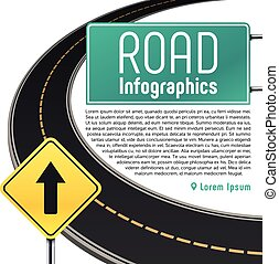 Road trip map vector infographics. Banner with information...