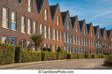 Modern family houses in a row