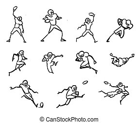 American Football Player Motion Sketch Studies, Hand-drawn...