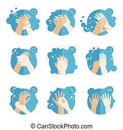 Washing hands properly - medical instructions for health....