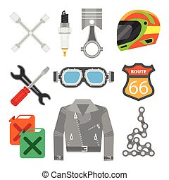Vector set of motorcycle accessories. Design elements and...
