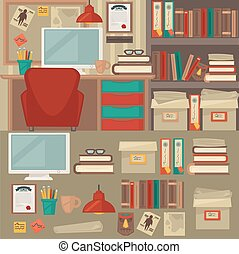 Office furniture interiors and objects.