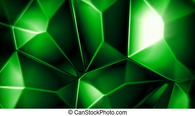 Rotating emerald crystals abstract background seamless loop
