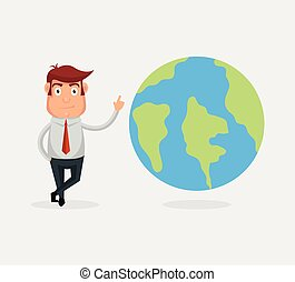 Man character with planet earth. Vector flat cartoon...