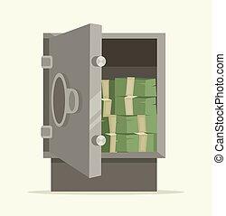 Open safe full of money