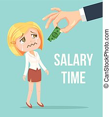 Boss giving small salary to office worker woman character...