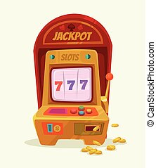 Slot machine with 777 and money Vector flat cartoon...