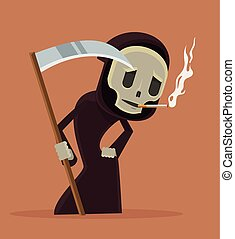 Stop smoke Smoking death character Vector flat cartoon...