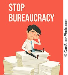 Stop bureaucracy Office worker character cry Vector flat...