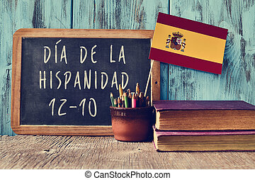 text Hispanic Heritage Day, in Spanish - a chalkboard with...
