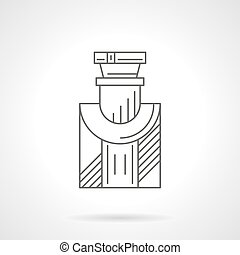 Mens cologne flat line vector icon - Bottle of mens cologne....