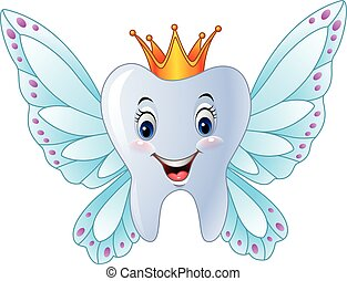 Cartoon smiling tooth fairy - Vector illustration of Cartoon...