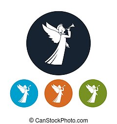 Icons Christmas Angel - Icon of a Christmas Angel , Four...