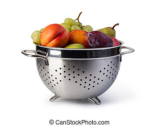 Fresh fruits in colander isolated on white background
