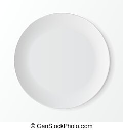 White Round Plate on Background. Table Setting - Vector...