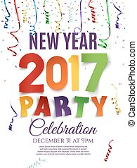 New Year 2017 party poster template. - New Year 2017 party...