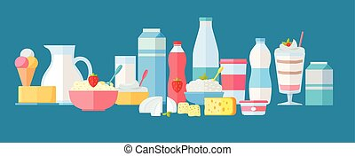 Set of Milk Products Vector Icons in Flat Design - Set of...