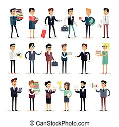 Set of Business Characters Vector in Flat Design. - Set of...