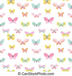 Colorful Seamless Background with Butterflies - for Scrapbooking, Celebration, Birthday, Design - in vector