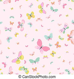 Colorful Seamless Background with Butterflies - for...