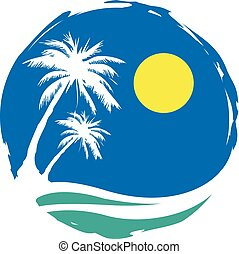 beach palm trees sun