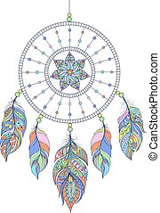 dreamcatcher on white background - Vector illustration of...