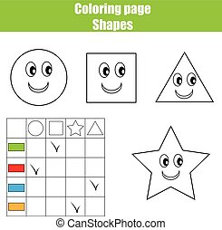 Coloring page practice sheet. Educational children game, kids activity, printable worksheet. Learning shapes and colors