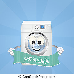 automatic laundry - funny illustration of automatic laundry