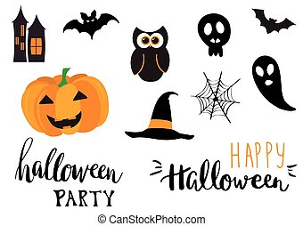 Collection of halloween stickers for your design