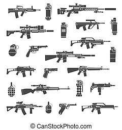 Weapon icons and military or war signs vector. Set of weapon...