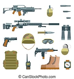 Military armor and weapon guns icons flat set. Automatic...