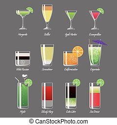 Alcoholic cocktails vector illustration. Margarita and...