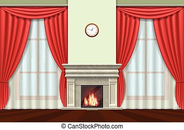 Living room interior with curtains and fireplace vector -...