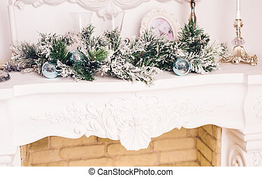 Christmas decoration with fireplace in the room