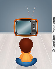 child in front the television - illustration of child in...