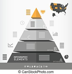 Pyramidal infographic element with four steps and place for...