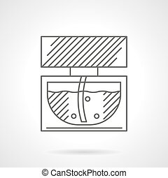 Glass vial of perfume flat line vector icon - Glass bottle...