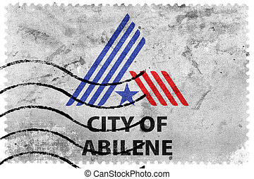 Flag of Abilene, Texas, USA, old postage stamp