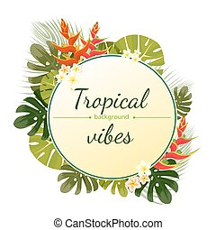 Colorful tropical flower, plant and leaf pattern background....