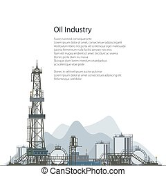Oil Drilling Rig, Brochure Flyer Design - Oilfield, Drilling...